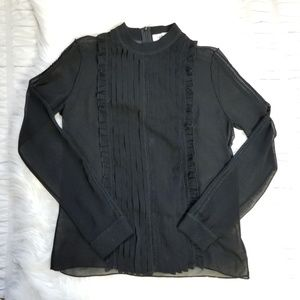 SANDRO Paris Sheer Ruffle Long sleeve Blouse